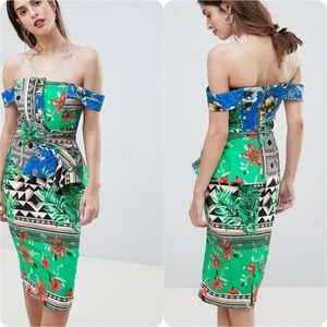 Rivers Island Scarf Print Bow Front Bodycon Dress
